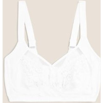 M&S Womens Cotton & Lace Total Support Full Cup Bra B-G - 34C - White, White,Marine