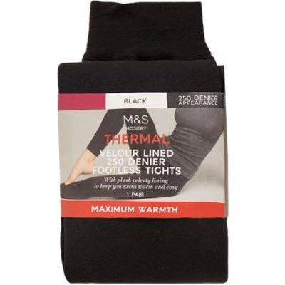 M&S Womens 250 Denier Velour Lined Footless Tights - Black, Black