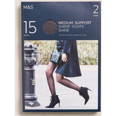 M&S Womens 2pk 15 Denier Medium Support Sheer Tights - Nearly Black, Nearly Black,Rose Quartz,Pale Opaline
