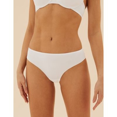M&S Womens 3pk No VPL Low Rise Brazilian Knickers - 8 - White, White,Soft Opaline,Black