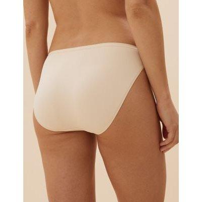 M&S Womens 5pk No VPL Microfibre High Leg Knickers - 24 - Nude Mix, Nude Mix,Black