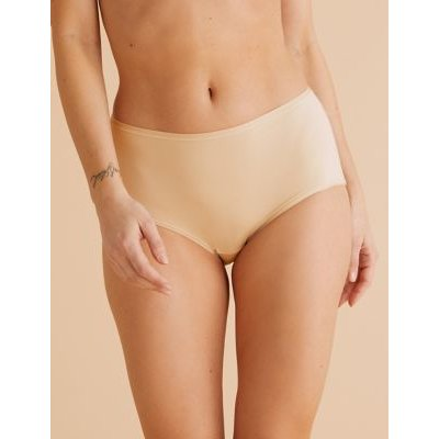M&S Womens 5pk No VPL Microfibre Midi Knickers - 26 - Natural Mix, Natural Mix,Black