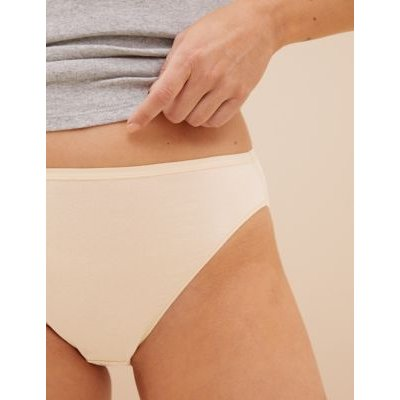 M&S Womens 5pk No VPL Cotton Modal High Leg Knickers - 6 - Nude Mix, Nude Mix,Black