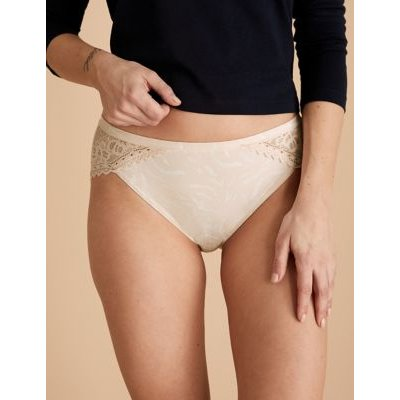 M&S Womens 3pk Sumptuously Soft High Leg Knickers - 6 - Pink, Pink