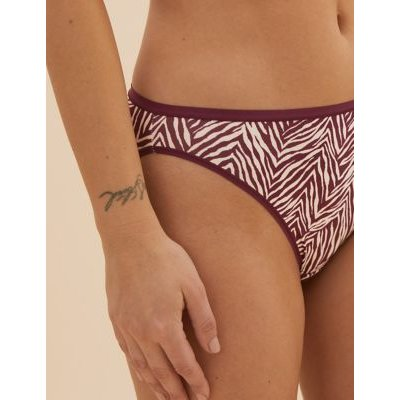 M&S Womens 5pk No VPL Zebra Print High Leg Knickers - 8 - Mulberry Mix, Mulberry Mix