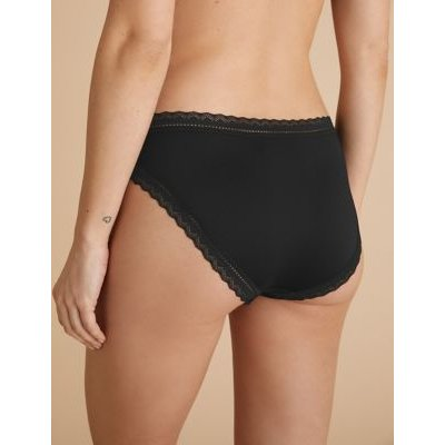 M&S Womens 5pk Microfibre & Lace High Leg Knickers - 6 - Black, Black