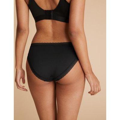 M&S Womens 5pk Microfibre & Lace High Leg Knickers - 8 - Black, Black