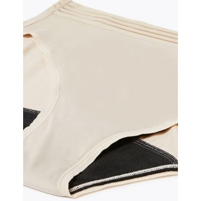 M&S Confidence Womens Anti-Leak Microfibre High Leg Knickers - 6 - Opaline, Opaline,Black