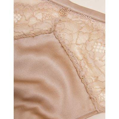 M&S Neutrals Rosie Womens Silk & Lace High Leg Knickers - 8 - Rose Quartz, Rose Quartz,Rich Amber,Dark Brown,Topaz