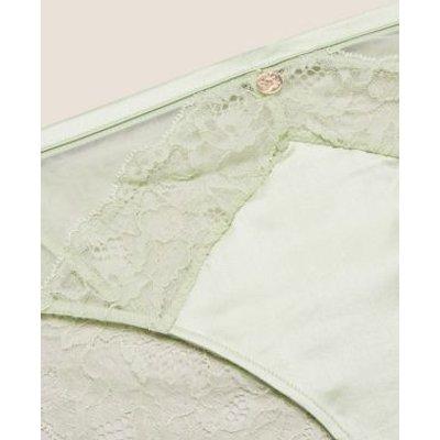 M&S Rosie Womens Silk & Lace High Leg Knickers - 6 - Pistachio, Pistachio,Black,Pale Opaline