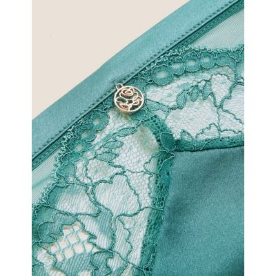 M&S Rosie Womens Silk & Lace High Leg Knickers - 16 - Antique Green, Antique Green,Lacquer Red,Pistachio,Black,Pale Opaline