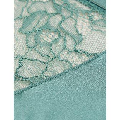 M&S Rosie Womens Silk & Lace Brazilian Knickers - 6 - Antique Green, Antique Green,Pistachio,Pale Opaline,Black