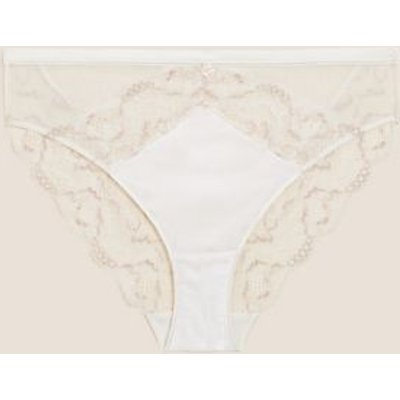 M&S Rosie Womens Silk & Lace High Leg Knickers - 6 - Ivory Mix, Ivory Mix