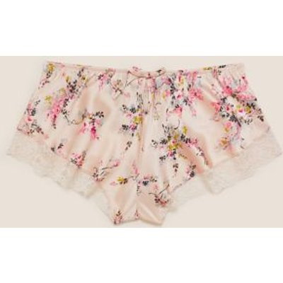 M&S Rosie Womens Silk & Lace Floral French Knickers - 16 - Light Pink, Light Pink
