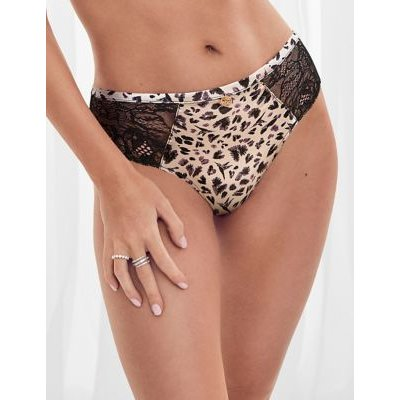 M&S Rosie Womens Silk & Lace Brazilian Knickers - 8 - Taupe Mix, Taupe Mix