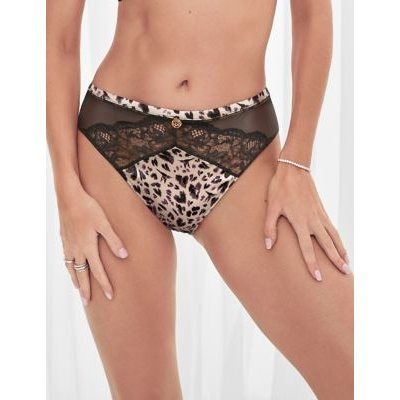 M&S Rosie Womens Silk & Lace High Leg Knickers - 8 - Taupe Mix, Taupe Mix