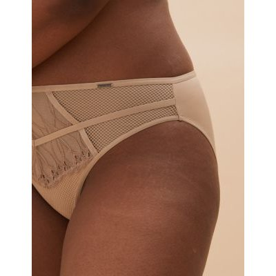 M&S Autograph Womens Nouveau Embroidered Brazilian Knickers - 8 - Nude, Nude,Cerise,Black Mix