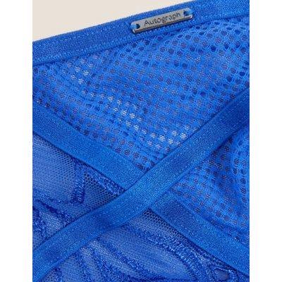M&S Autograph Womens Nouveau Embroidery High Leg Knickers - 8 - Blue Mix, Blue Mix,Black Mix