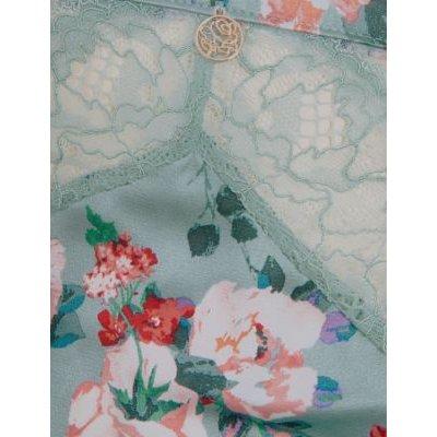 M&S Rosie Womens Silk & Lace Floral High Leg Knickers - 8 - Light Blue Mix, Light Blue Mix
