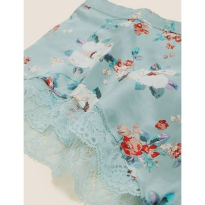 M&S Rosie Womens Silk & Lace Floral French Knickers - 6 - Light Blue Mix, Light Blue Mix