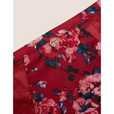 M&S Rosie Womens Rose Print Brazilian Knickers - 6 - Red Mix, Red Mix