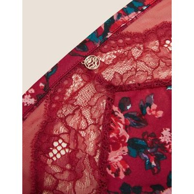 M&S Rosie Womens Rose Print High Leg Knickers - 8 - Red Mix, Red Mix