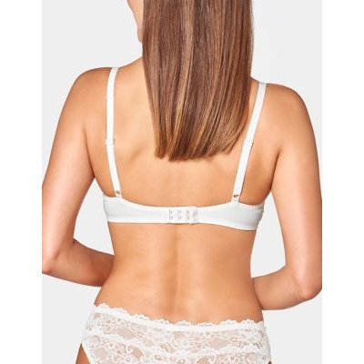 M&S Triumph Womens Amourette 300 Lace Underwired Full Cup Bra B-G - 32B - White, White,Black,Biscuit