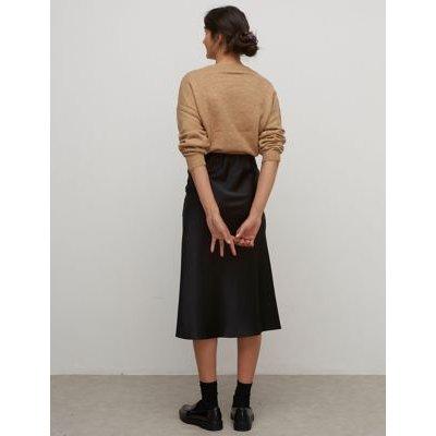 M&S Nobody'S Child Womens Satin Midi Wrap Skirt - 8 - Black, Black