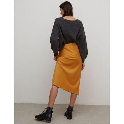 M&S Nobody'S Child Womens Satin Midi Wrap Skirt - 6 - Yellow, Yellow