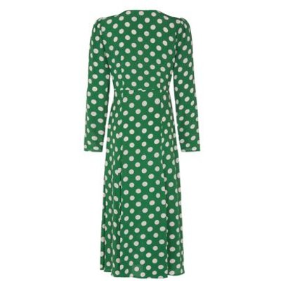 M&S Finery London Womens Crepe Polka Dot V-Neck Midi Tea Dress - 8 - Green Mix, Green Mix