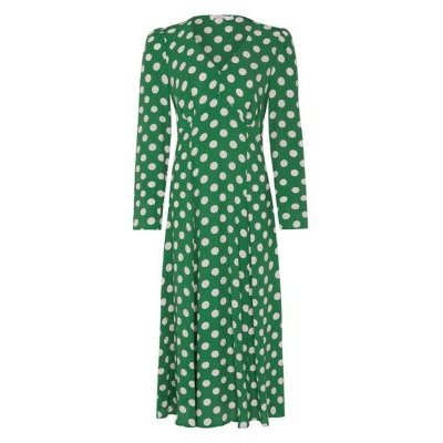 M&S Finery London Womens Crepe Polka Dot V-Neck Midi Tea Dress - 8 - Green Mix, Green Mix