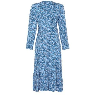 M&S Finery London Womens Floral V-Neck Midi Wrap Dress - 16 - Blue Mix, Blue Mix