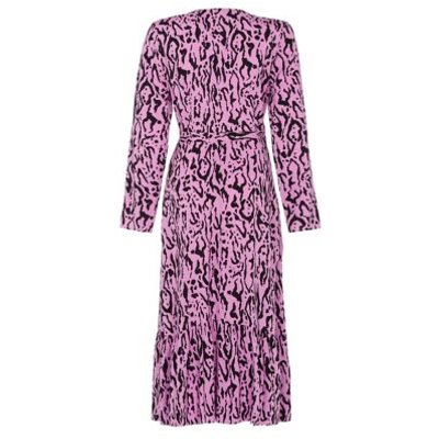 M&S Finery London Womens Animal Print V-Neck Midi Wrap Dress - 8 - Black Mix, Black Mix
