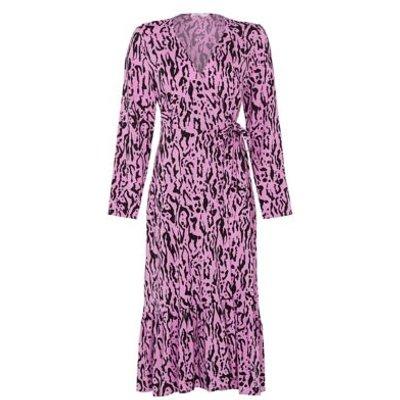 M&S Finery London Womens Animal Print V-Neck Midi Wrap Dress - 8 - Black Mix, Black Mix