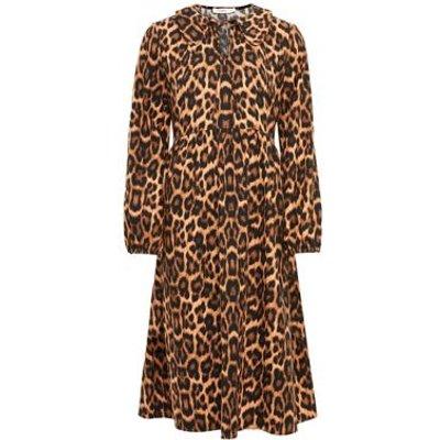 M&S Finery London Womens Cotton Animal Print Collared Smock Dress - 16 - Black/Brown, Black/Brown