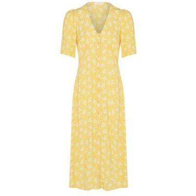 M&S Finery London Womens Floral V-Neck Puff Sleeve Midi Tea Dress - 18 - Yellow Mix, Yellow Mix
