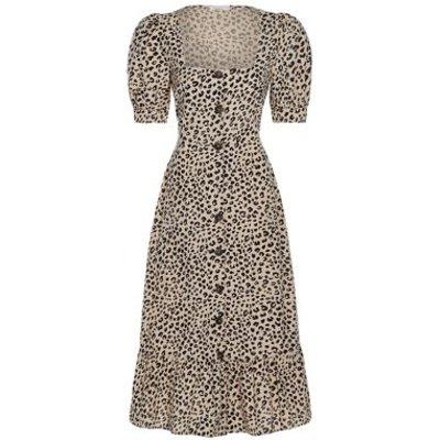 M&S Finery London Womens Pure Cotton Animal Print Midi Waisted Dress - 8 - Brown Mix, Brown Mix