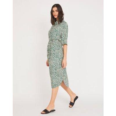 M&S Finery London Womens Animal Print Belted Midi Shirt Dress - 10 - Khaki Mix, Khaki Mix