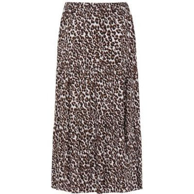 M&S Finery London Womens Leopard Print Midi Tiered Skirt - 8 - Black/Brown, Black/Brown