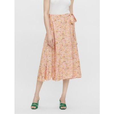 M&S Y.A.S Womens Floral Midi Wrap Skirt - Orange, Orange