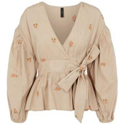 M&S Y.A.S Womens Organic Cotton Floral Tie Front Blouse - Beige, Beige