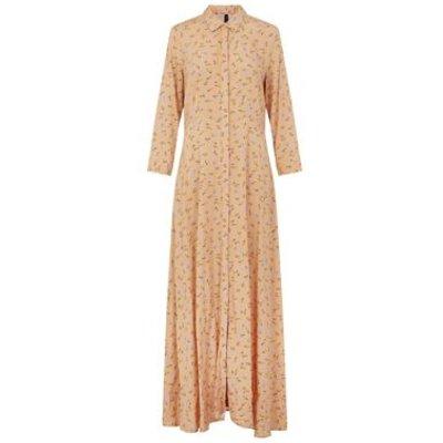 M&S Y.A.S Womens Floral Collared Maxi Shirt Dress - Orange Mix, Orange Mix
