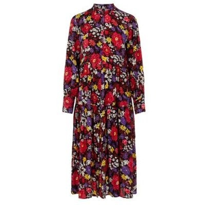 M&S Y.A.S Womens Floral High Neck Maxi Shirt Dress - XS - Multi, Multi