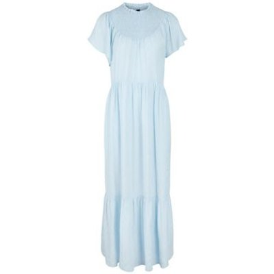 M&S Y.A.S Womens High Neck Angel Sleeve Maxi Tiered Dress - XS - Blue, Blue