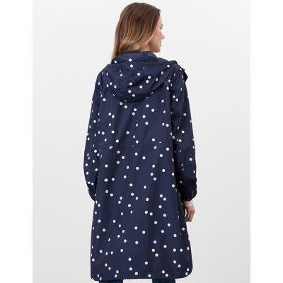 M&S Joules Womens Waterproof Printed Longline Raincoat - 8 - Navy Mix, Navy Mix