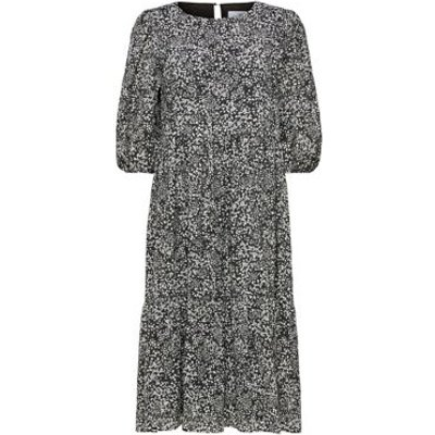 M&S Selected Femme Womens Printed Round Neck Midi Waisted Dress - 36 - Black Mix, Black Mix,Red Mix