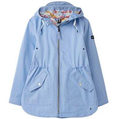 M&S Joules Womens Cotton Waterproof Hooded Raincoat - 8 - Light Blue, Light Blue,Antique Gold,Navy