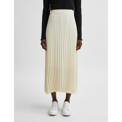M&S Selected Femme Womens Pleated Midi Skirt - 36 - Sand, Sand