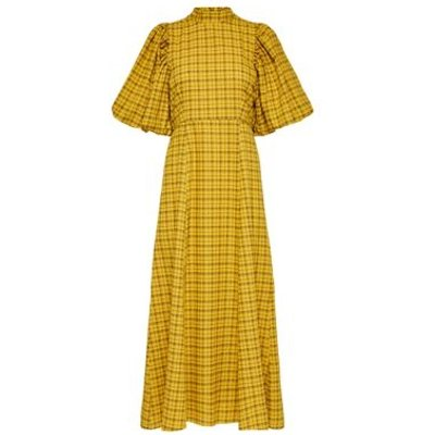M&S Selected Femme Womens Checked High Neck Midaxi Dress - 34 - Yellow Mix, Yellow Mix