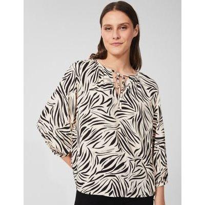 M&S Hobbs Womens Animal Print Tie Neck 3/4 Sleeve Blouse - 8 - White Mix, White Mix